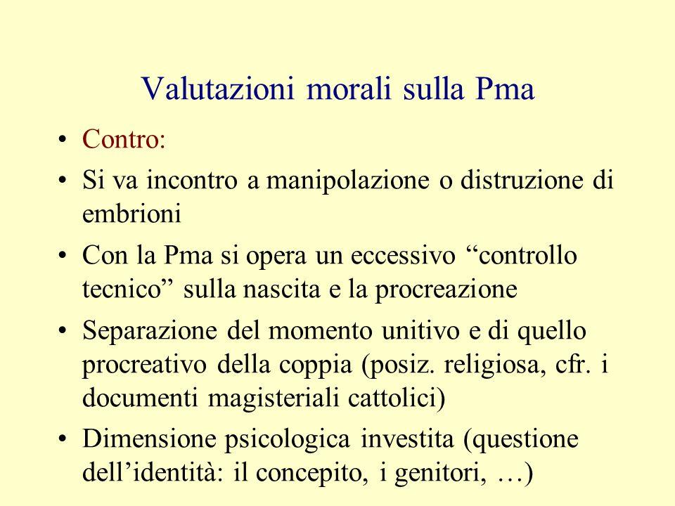Valutazioni morali sulla Pma Contro: Si va incontro a manipolazione o distruzione di embrioni Con la Pma si opera un eccessivo controllo tecnico sulla