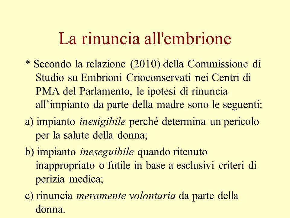 La rinuncia all'embrione * Secondo la relazione (2010) della Commissione di Studio su Embrioni Crioconservati nei Centri di PMA del Parlamento, le ipo