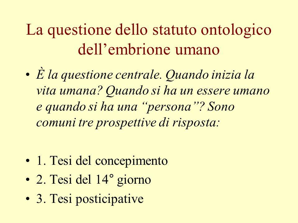 La questione dello statuto ontologico dellembrione umano È la questione centrale. Quando inizia la vita umana? Quando si ha un essere umano e quando s