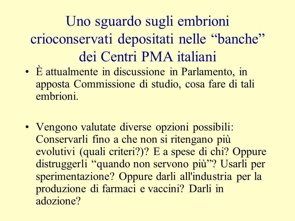 Uno sguardo sugli embrioni crioconservati depositati nelle banche dei Centri PMA italiani È attualmente in discussione in Parlamento, in apposta Commi
