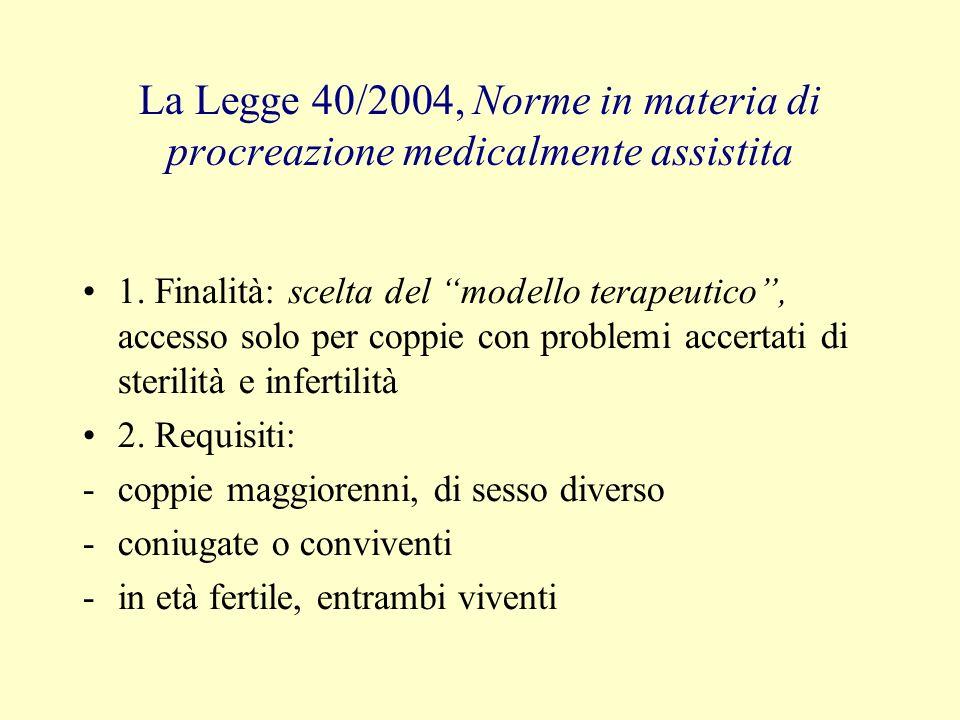 La Legge 40/2004, Norme in materia di procreazione medicalmente assistita 1. Finalità: scelta del modello terapeutico, accesso solo per coppie con pro