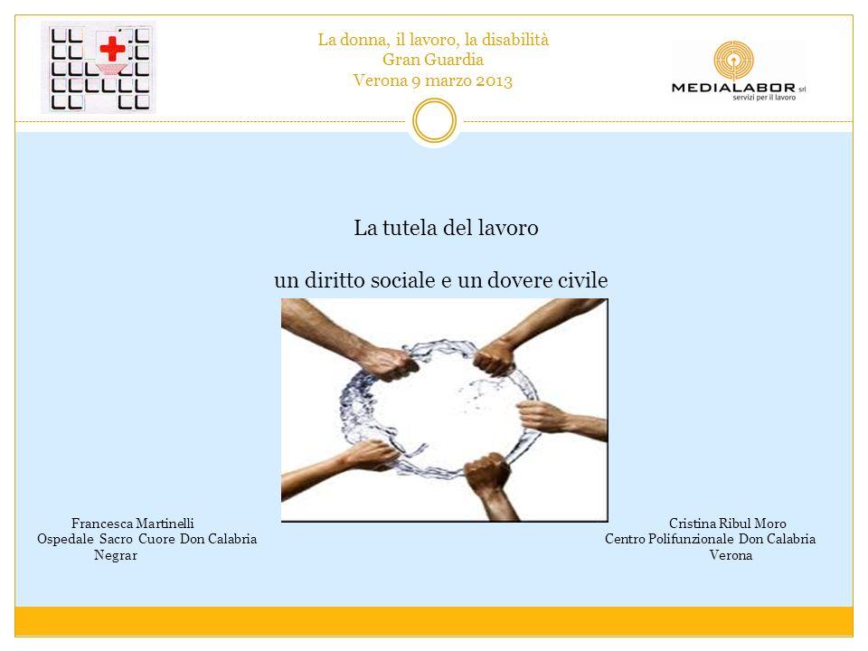La donna, il lavoro, la disabilità Gran Guardia Verona 9 marzo 2013 La tutela del lavoro un diritto sociale e un dovere civile Francesca Martinelli Cr