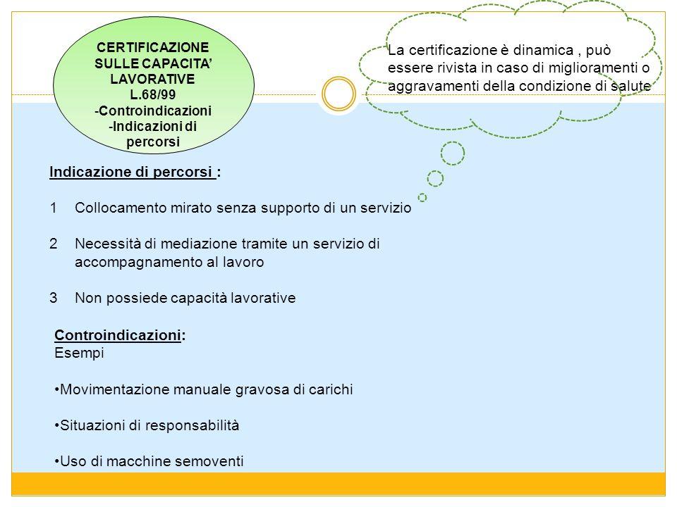 CERTIFICAZIONE SULLE CAPACITA LAVORATIVE L.68/99 -Controindicazioni -Indicazioni di percorsi Indicazione di percorsi : 1 Collocamento mirato senza sup