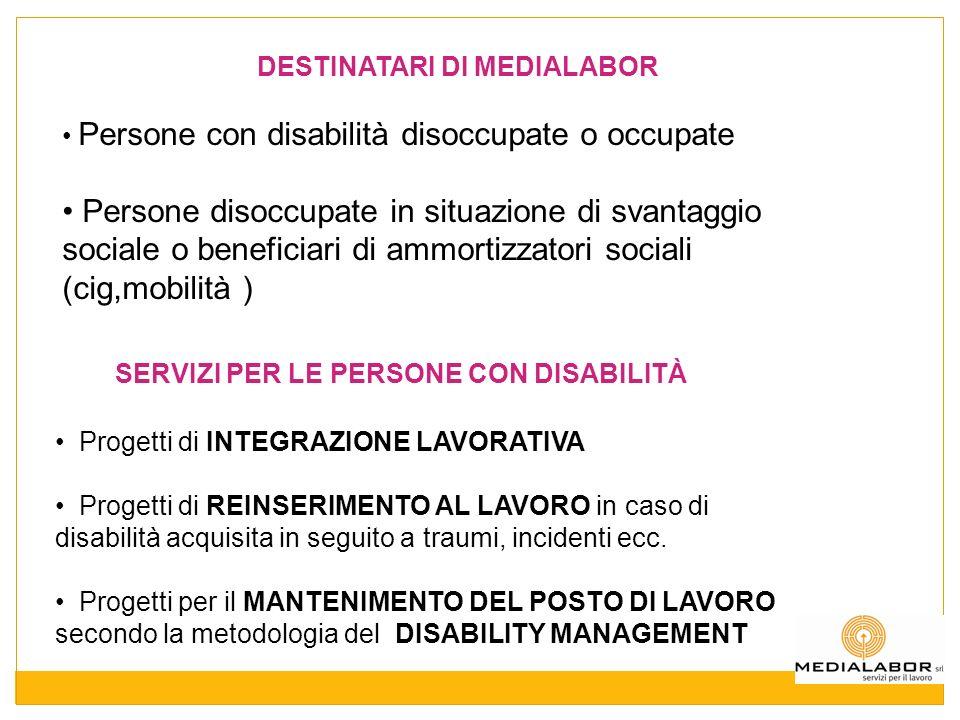 DESTINATARI DI MEDIALABOR Persone con disabilità disoccupate o occupate Persone disoccupate in situazione di svantaggio sociale o beneficiari di ammor