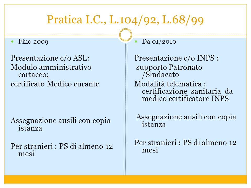 Pratica I.C., L.104/92, L.68/99 Fino 2009 Presentazione c/o ASL: Modulo amministrativo cartaceo; certificato Medico curante Assegnazione ausili con co