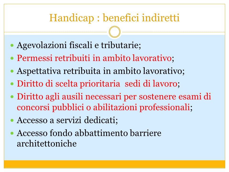 Handicap : benefici indiretti Agevolazioni fiscali e tributarie; Permessi retribuiti in ambito lavorativo; Aspettativa retribuita in ambito lavorativo