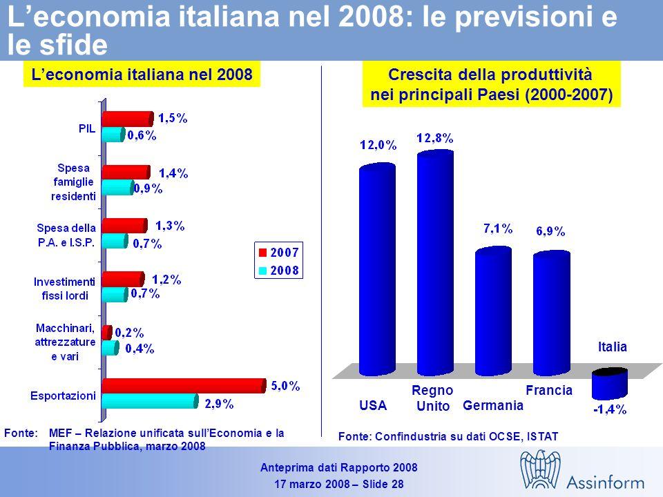 Anteprima dati Rapporto 2008 17 marzo 2008 – Slide 27 Le previsioni per il 2008