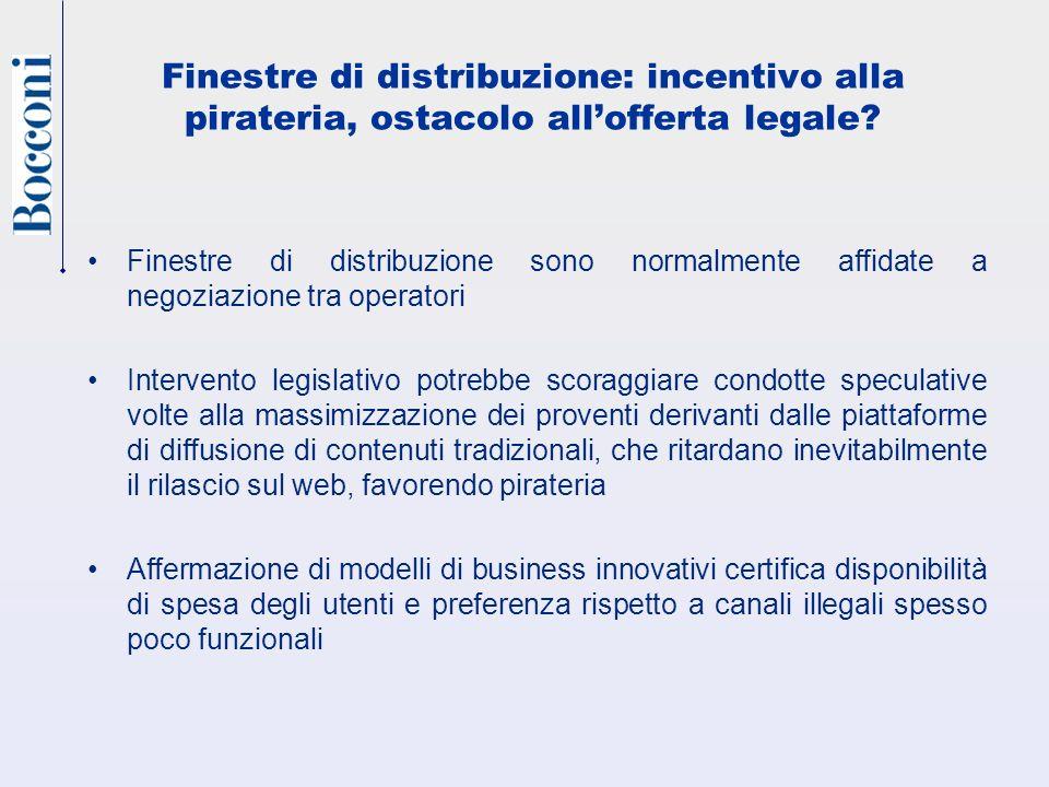 Finestre di distribuzione: incentivo alla pirateria, ostacolo allofferta legale.