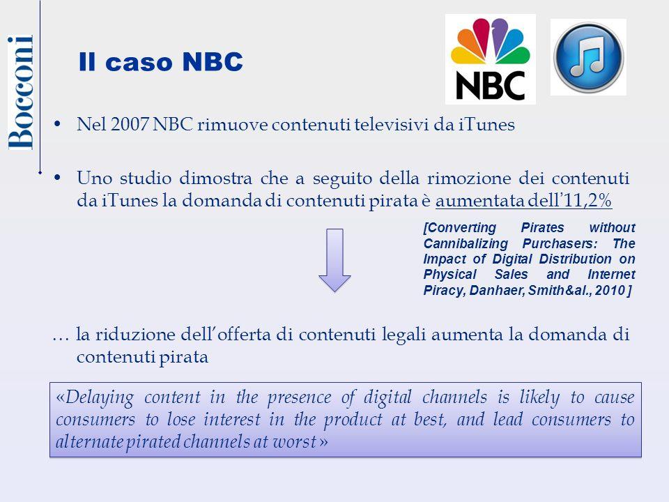 Nel 2007 NBC rimuove contenuti televisivi da iTunes Uno studio dimostra che a seguito della rimozione dei contenuti da iTunes la domanda di contenuti