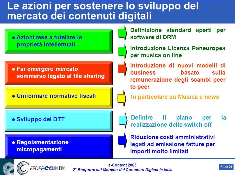Slide 20 e-Content 2006 2° Rapporto sul Mercato dei Contenuti Digitali in Italia Principali fattori di freno allo sviluppo del mercato delle-Content evidenziati dagli operatori Legenda da bassa intensità ad alta intensità In calo sul 2004In aumento sul 2004