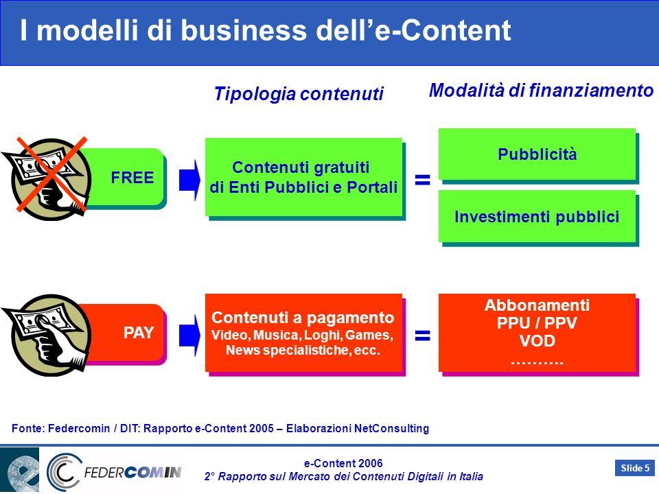 Slide 4 e-Content 2006 2° Rapporto sul Mercato dei Contenuti Digitali in Italia Il perimetro di analisi e la metodologia