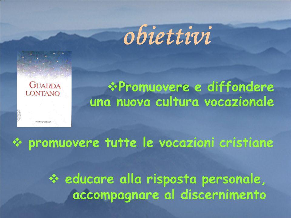 Promuovere e diffondere una nuova cultura vocazionale obiettivi promuovere tutte le vocazioni cristiane educare alla risposta personale, accompagnare al discernimento