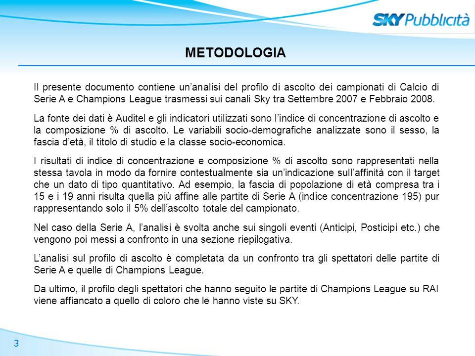 3 METODOLOGIA Il presente documento contiene unanalisi del profilo di ascolto dei campionati di Calcio di Serie A e Champions League trasmessi sui canali Sky tra Settembre 2007 e Febbraio 2008.