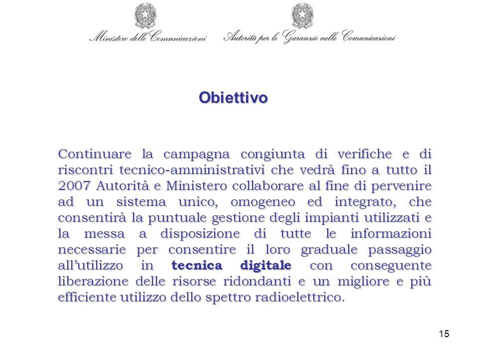 15 Continuare la campagna congiunta di verifiche e di riscontri tecnico-amministrativi che vedrà fino a tutto il 2007 Autorità e Ministero collaborare
