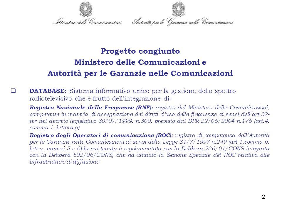 2 DATABASE : Sistema informativo unico per la gestione dello spettro radiotelevisivo che è frutto dellintegrazione di: Registro Nazionale delle Freque