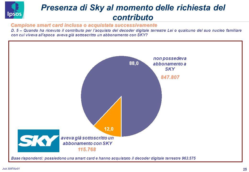 25 Job 30970iz01 Presenza di Sky al momento delle richiesta del contributo D.