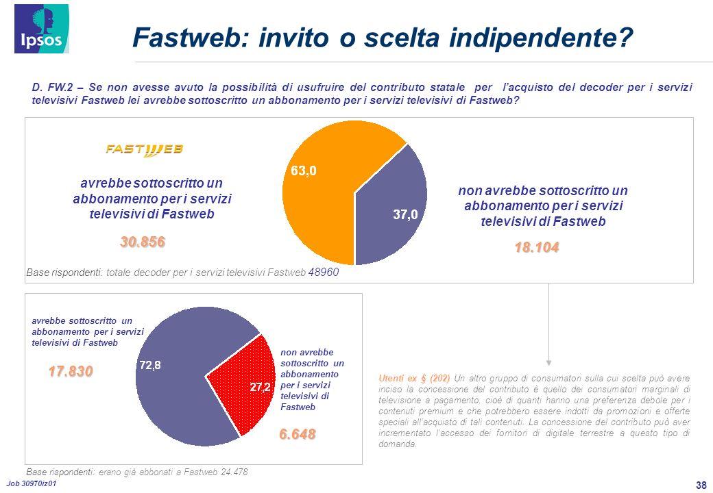 38 Job 30970iz01 Fastweb: invito o scelta indipendente.