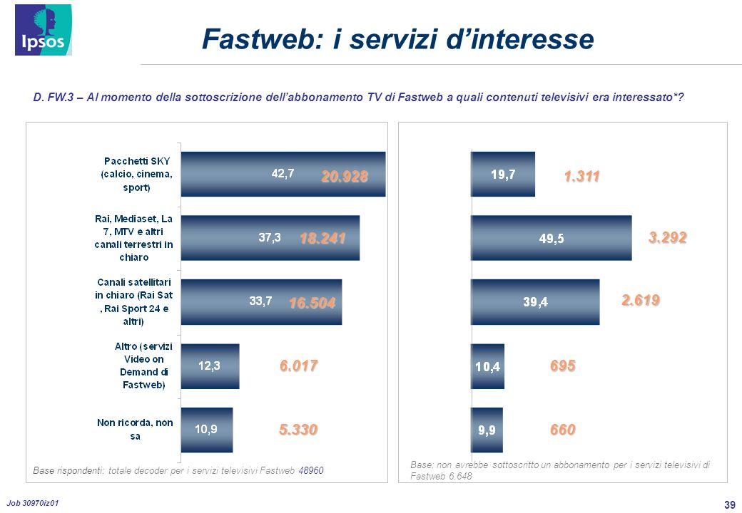 39 Job 30970iz01 Fastweb: i servizi dinteresse D.