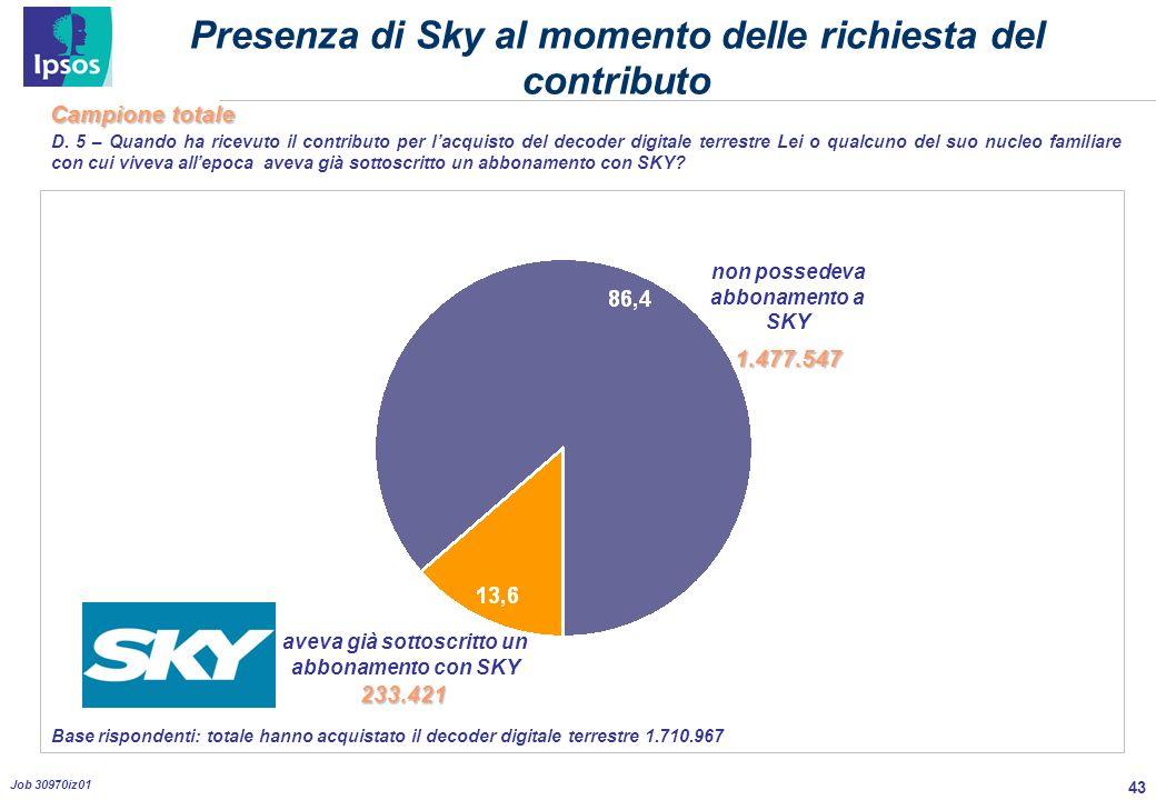 43 Job 30970iz01 Presenza di Sky al momento delle richiesta del contributo D.