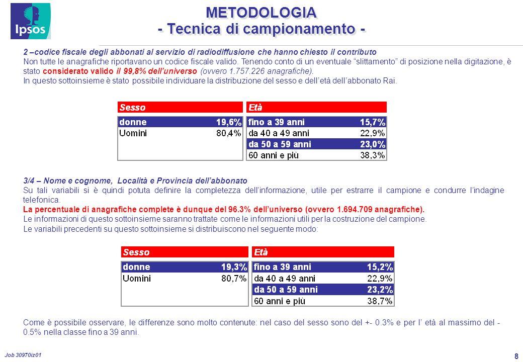 8 Job 30970iz01 METODOLOGIA - Tecnica di campionamento - 2 –codice fiscale degli abbonati al servizio di radiodiffusione che hanno chiesto il contributo Non tutte le anagrafiche riportavano un codice fiscale valido.