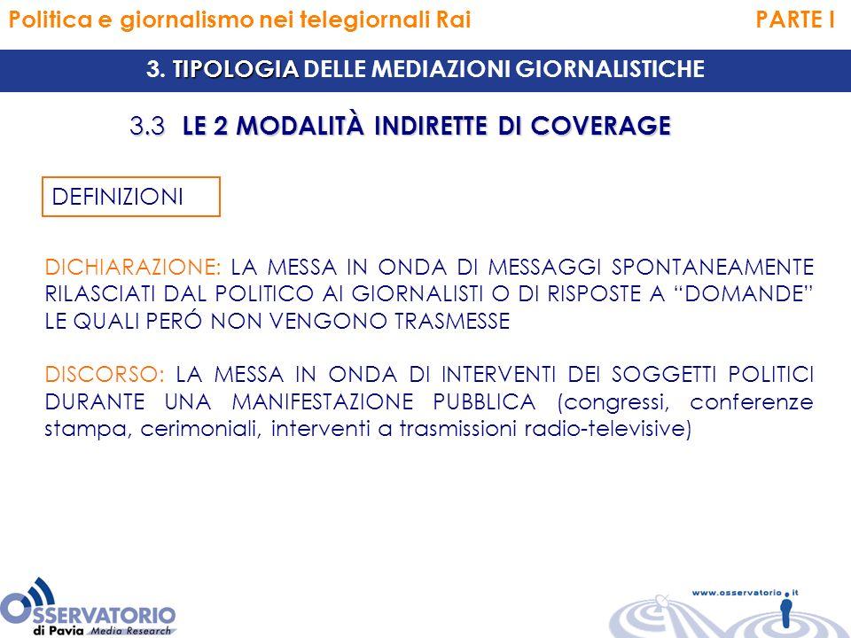 Politica e giornalismo nei telegiornali Rai PARTE I TIPOLOGIA 3.