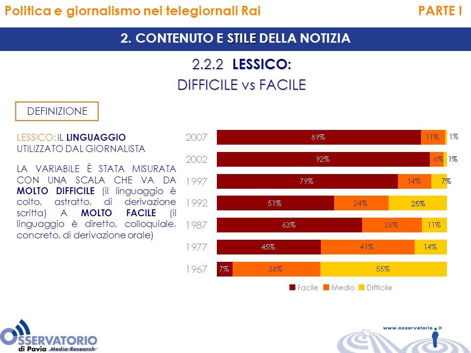 Politica e giornalismo nei telegiornali Rai PARTE I 2.2.2 LESSICO: DIFFICILE vs FACILE STILE 2.