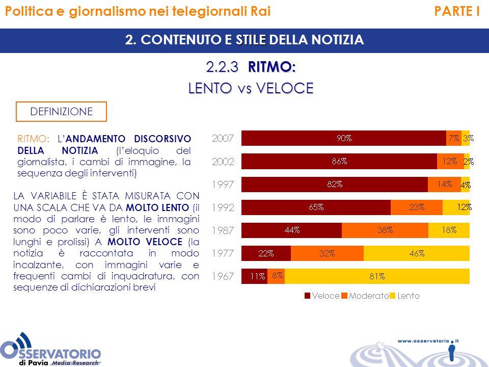 Politica e giornalismo nei telegiornali Rai PARTE I 2.2.3 RITMO: LENTO vs VELOCE STILE 2.
