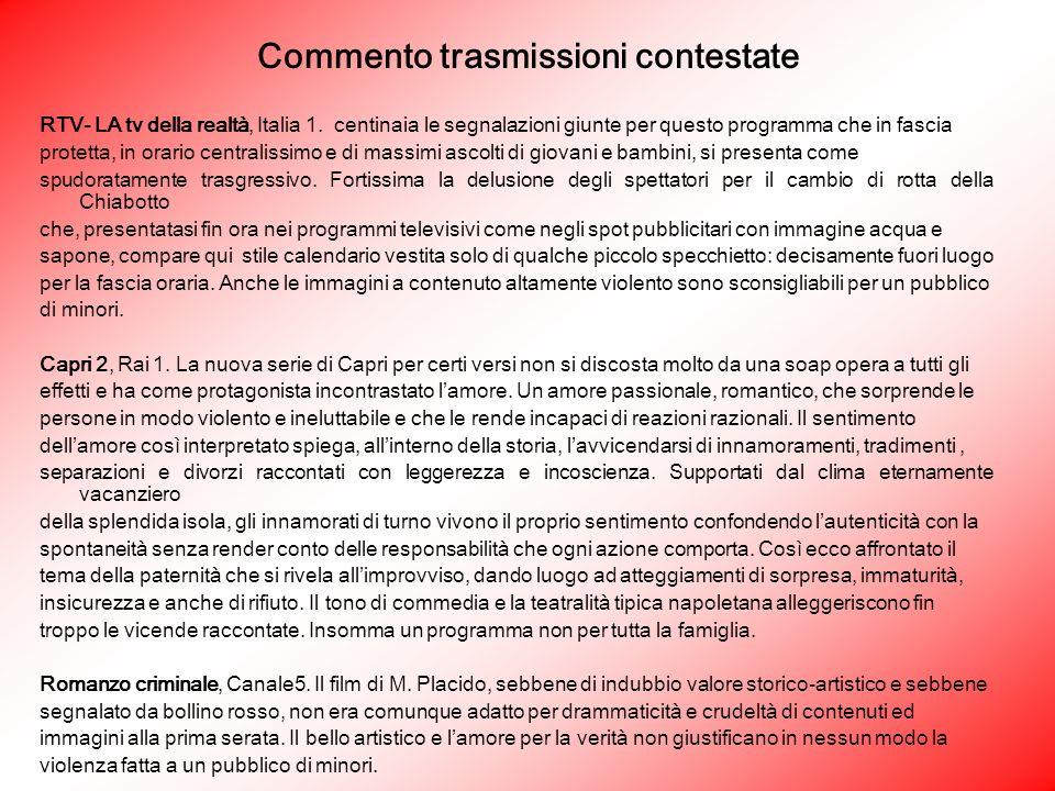 Commento trasmissioni contestate RTV- LA tv della realtà, Italia 1.
