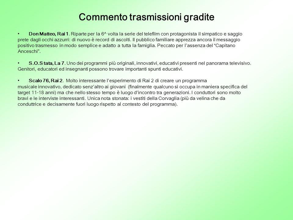 Commento trasmissioni gradite Don Matteo, Rai 1.