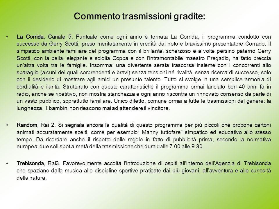 Commento trasmissioni gradite: La Corrida, Canale 5.