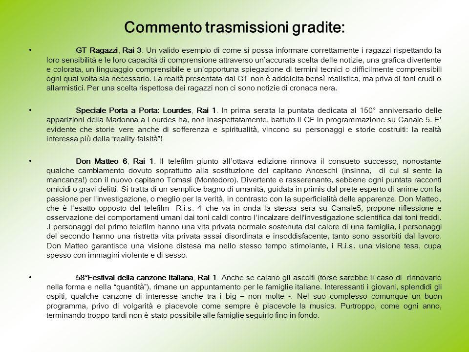 Commento trasmissioni gradite: GT Ragazzi, Rai 3. Un valido esempio di come si possa informare correttamente i ragazzi rispettando la loro sensibilità