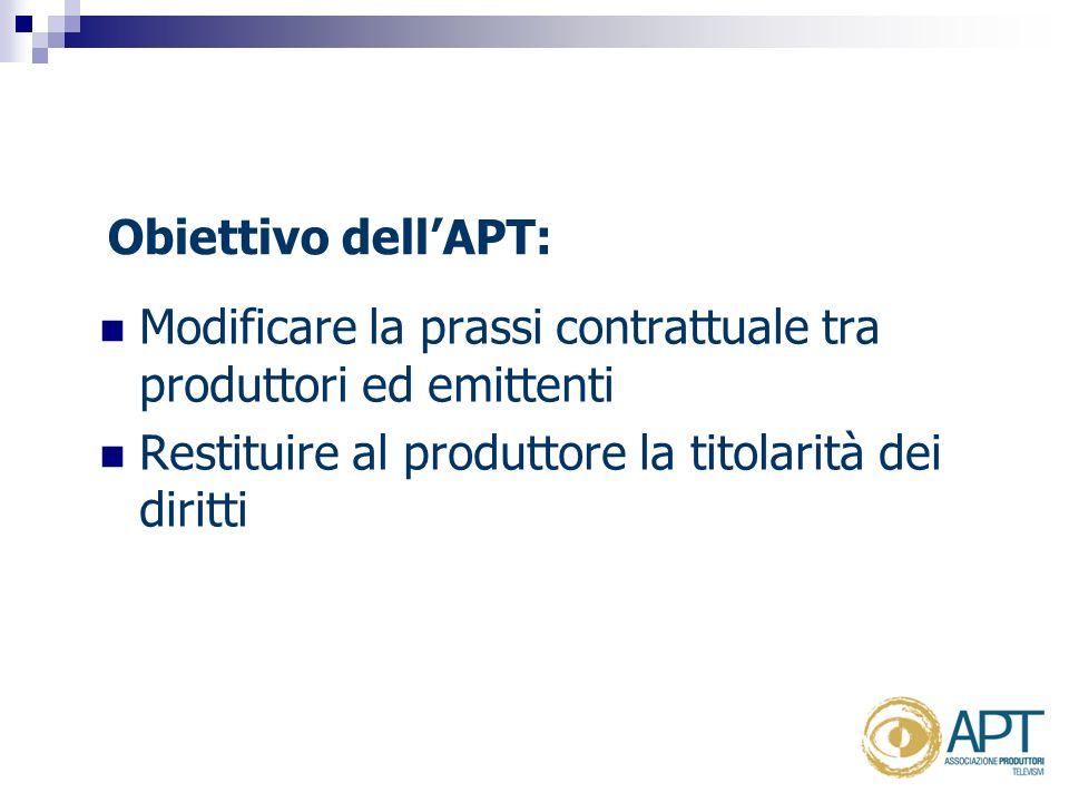 Obiettivo dellAPT: Modificare la prassi contrattuale tra produttori ed emittenti Restituire al produttore la titolarità dei diritti