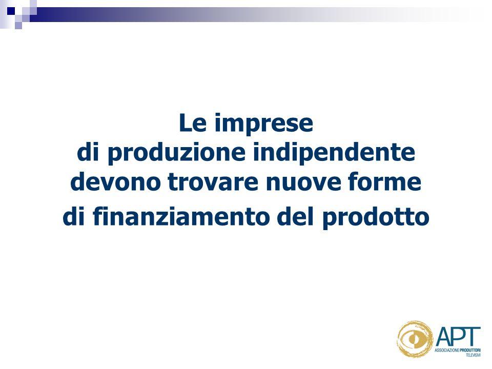 Le imprese di produzione indipendente devono trovare nuove forme di finanziamento del prodotto