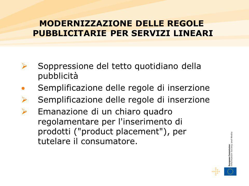 Soppressione del tetto quotidiano della pubblicità Semplificazione delle regole di inserzione Emanazione di un chiaro quadro regolamentare per l'inser
