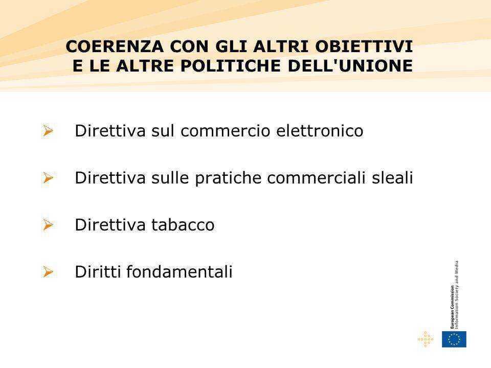 Direttiva sul commercio elettronico Direttiva sulle pratiche commerciali sleali Direttiva tabacco Diritti fondamentali COERENZA CON GLI ALTRI OBIETTIVI E LE ALTRE POLITICHE DELL UNIONE