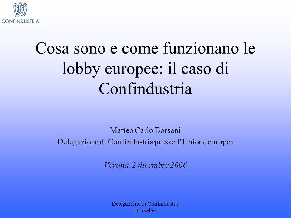 Delegazione di Confindustria Bruxelles Cosa sono e come funzionano le lobby europee: il caso di Confindustria Matteo Carlo Borsani Delegazione di Conf