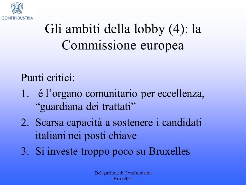 Delegazione di Confindustria Bruxelles Gli ambiti della lobby (4): la Commissione europea Punti critici: 1. é lorgano comunitario per eccellenza, guar
