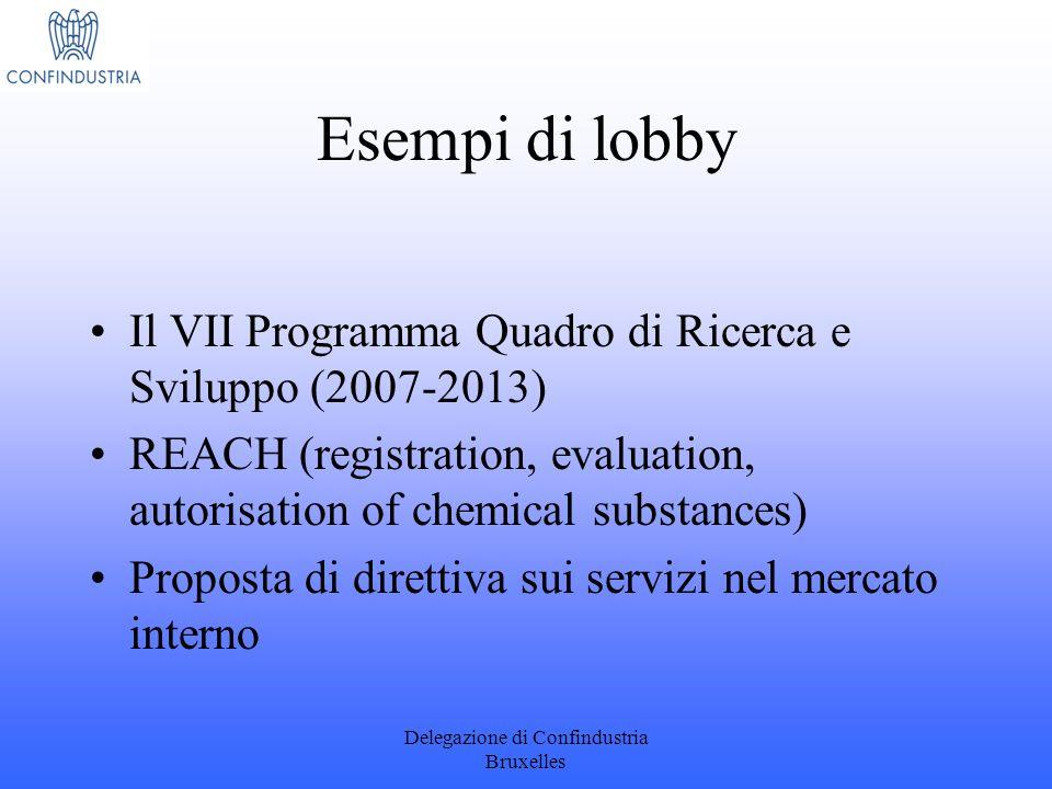 Delegazione di Confindustria Bruxelles Esempi di lobby Il VII Programma Quadro di Ricerca e Sviluppo (2007-2013) REACH (registration, evaluation, auto