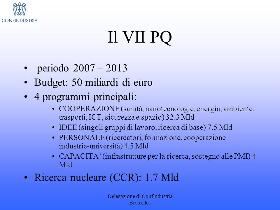 Delegazione di Confindustria Bruxelles Il VII PQ periodo 2007 – 2013 Budget: 50 miliardi di euro 4 programmi principali: COOPERAZIONE (sanità, nanotec