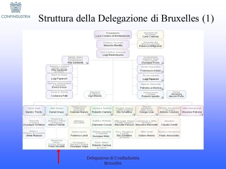 Delegazione di Confindustria Bruxelles Struttura della Delegazione di Bruxelles (1)