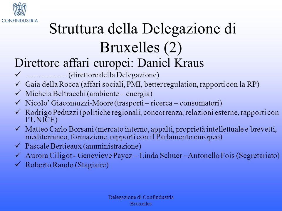 Delegazione di Confindustria Bruxelles Direttore affari europei: Daniel Kraus ……………. (direttore della Delegazione) Gaia della Rocca (affari sociali, P