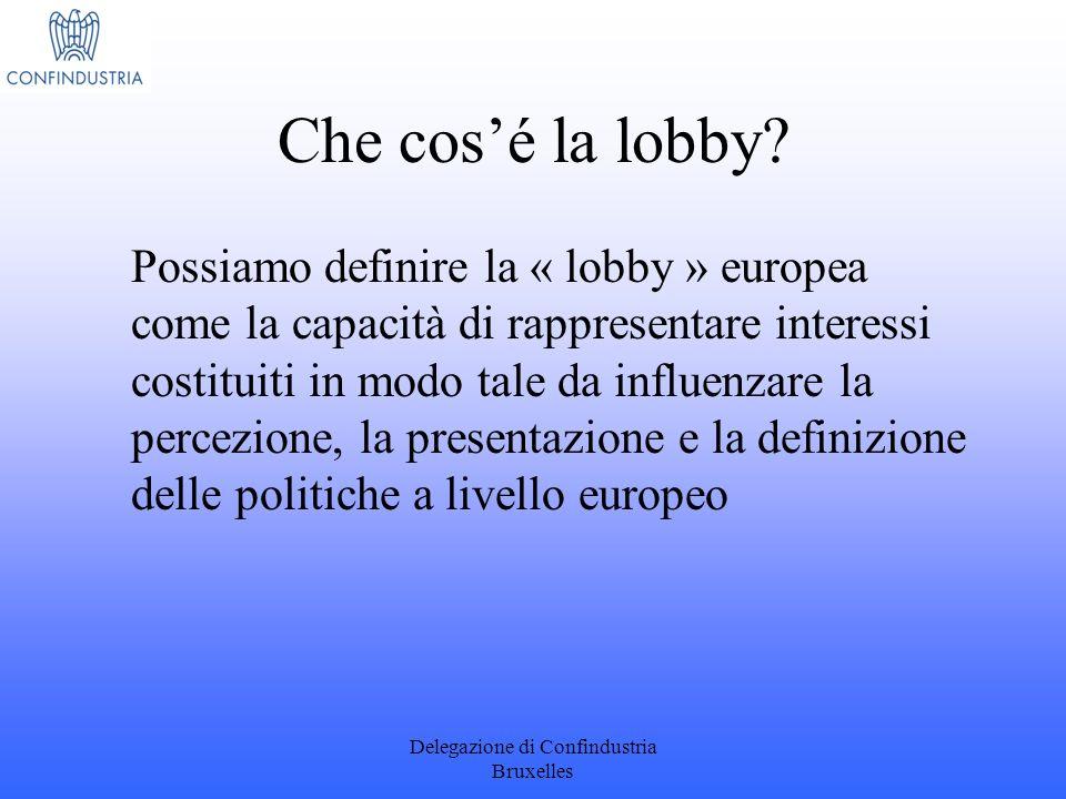 Delegazione di Confindustria Bruxelles Che cosé la lobby? Possiamo definire la « lobby » europea come la capacità di rappresentare interessi costituit