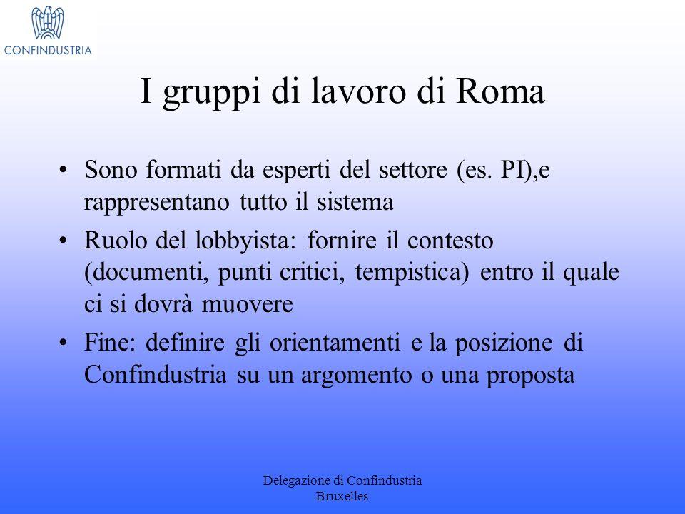 Delegazione di Confindustria Bruxelles I gruppi di lavoro di Roma Sono formati da esperti del settore (es. PI),e rappresentano tutto il sistema Ruolo