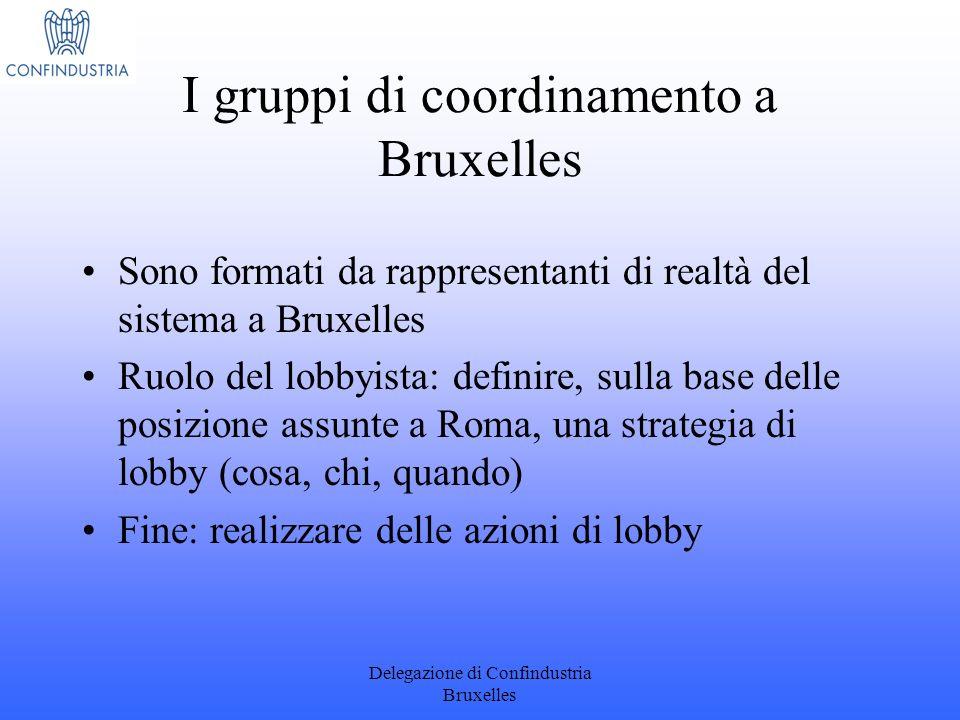 Delegazione di Confindustria Bruxelles I gruppi di coordinamento a Bruxelles Sono formati da rappresentanti di realtà del sistema a Bruxelles Ruolo de