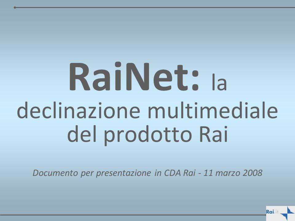 Tecnologia: autonomia e governo Sul piano tecnologico in questi quattro anni RaiNet ha rafforzato la sua strategia di controllo totale delle piattaforme tecnologiche: –tutta lofferta di Rai.it e Rai.tv è gestita e diffusa da asset di proprietà di RaiNet; –tutti i portali e siti gestiti da RaiNet sono interamente realizzati allinterno dellazienda sotto il suo pieno controllo e la stessa è proprietaria di tutto il software, asset fondamentale per il controllo dellintero processo produttivo e gestionale; –in sostanza, non esiste alcun fornitore esterno di piattaforme software che detiene il controllo di alcun pezzo dellinfrastruttura con il rischio di minare il controllo del governo tecnologico e quindi mettere a rischio la qualità del servizio erogato agli utenti della rete; –questo vuol dire che tutte le decisioni in ambito tecnologico sono effettuate ed implementate unicamente da RaiNet senza alcuna scelta obbligata dipendente da fornitori esterni.