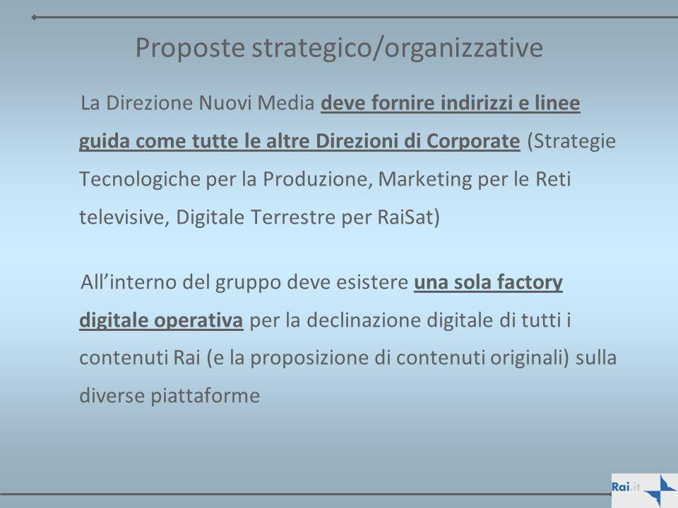 La Direzione Nuovi Media deve fornire indirizzi e linee guida come tutte le altre Direzioni di Corporate (Strategie Tecnologiche per la Produzione, Ma