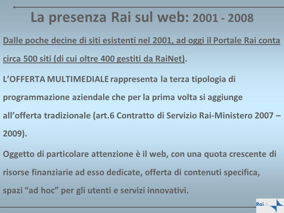 La presenza Rai sul web: 2001 - 2008 Dalle poche decine di siti esistenti nel 2001, ad oggi il Portale Rai conta circa 500 siti (di cui oltre 400 gest