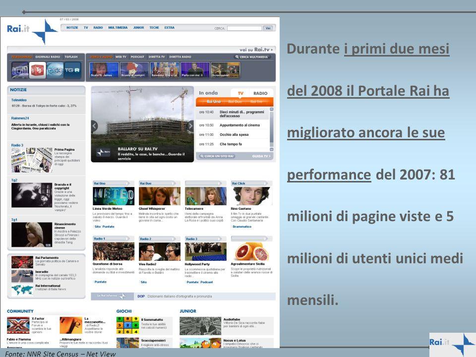 Durante i primi due mesi del 2008 il Portale Rai ha migliorato ancora le sue performance del 2007: 81 milioni di pagine viste e 5 milioni di utenti un