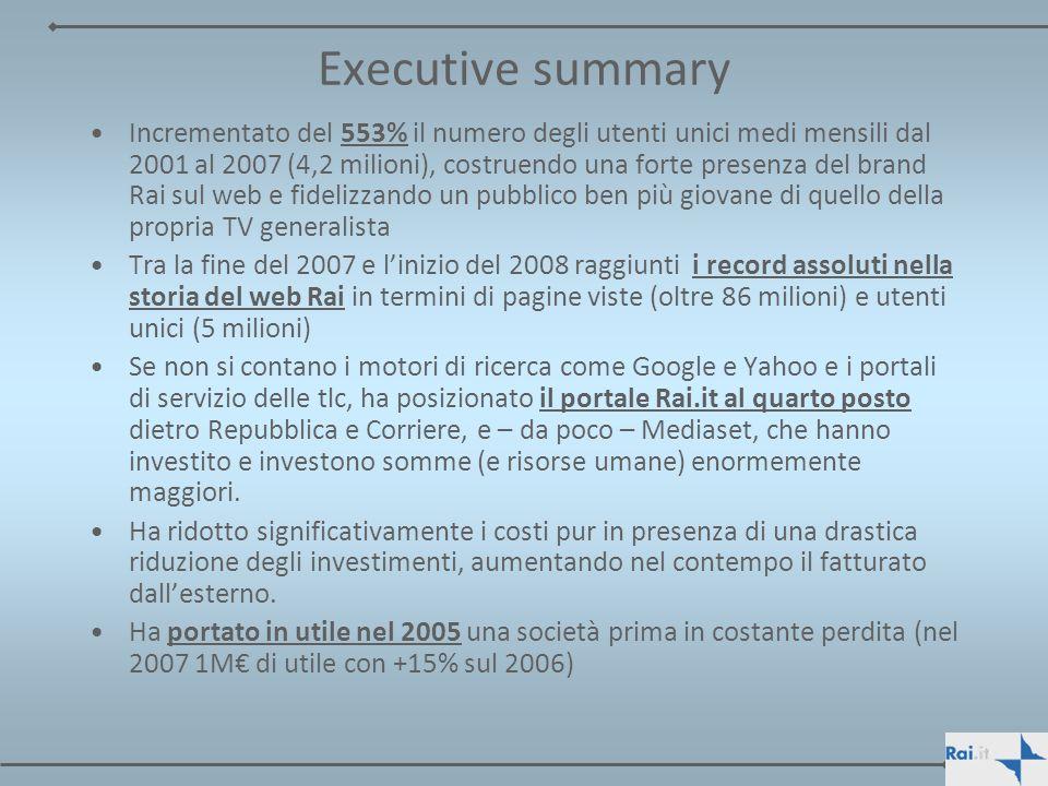 Executive summary Incrementato del 553% il numero degli utenti unici medi mensili dal 2001 al 2007 (4,2 milioni), costruendo una forte presenza del br