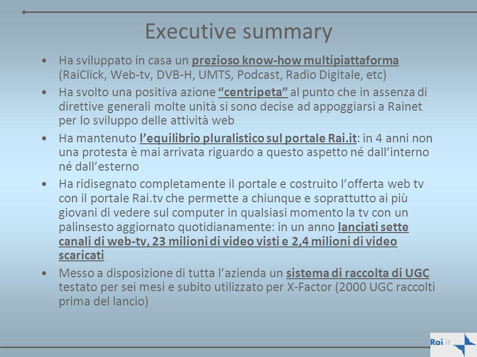 Executive summary Ha svolto azioni tipiche del Servizio Pubblico sul web realizzando per Rai campagne di comunicazione per i principali Ministeri (es.